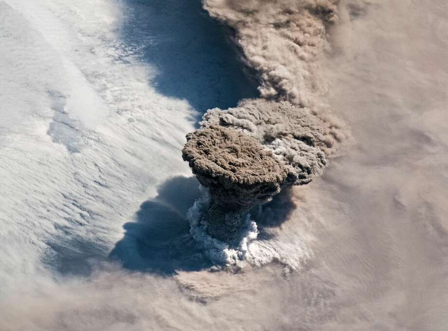 Raikoke erupts, as seen from the ISS. Photo: NASA