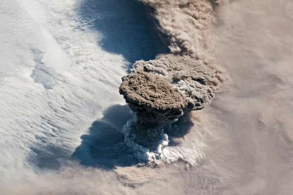 Raikoke erupts, as seen from the ISS.