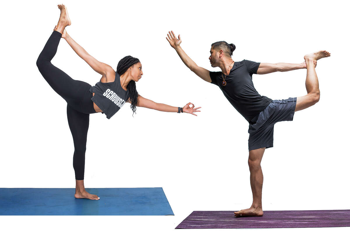 Today's #ReNewYogaChallenge pose of the day is Dancer demonstrated by local yoga instructors Alicia Tillman and John Tran.