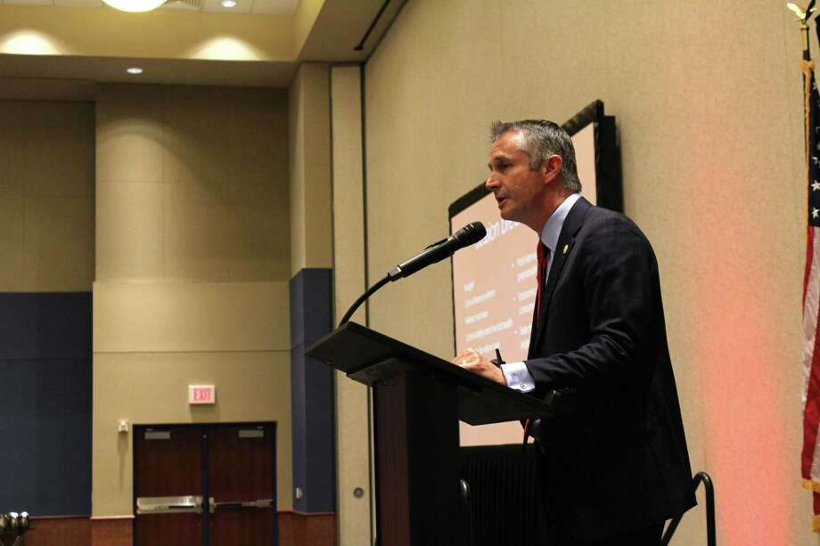 Tom Oliverson, Texas House Rep. for District 130, gave a presentation about the changes in laws and policies around the state, including property tax relief and school finance reform. Photo: Chevall Pryce