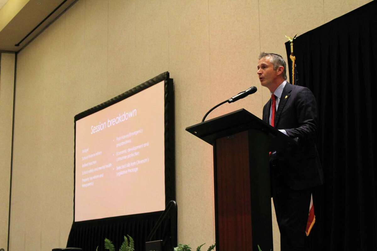 Tom Oliverson, Texas House Rep. for District 130, gave a presentation about the changes in laws and policies around the state, including property tax relief and school finance reform.