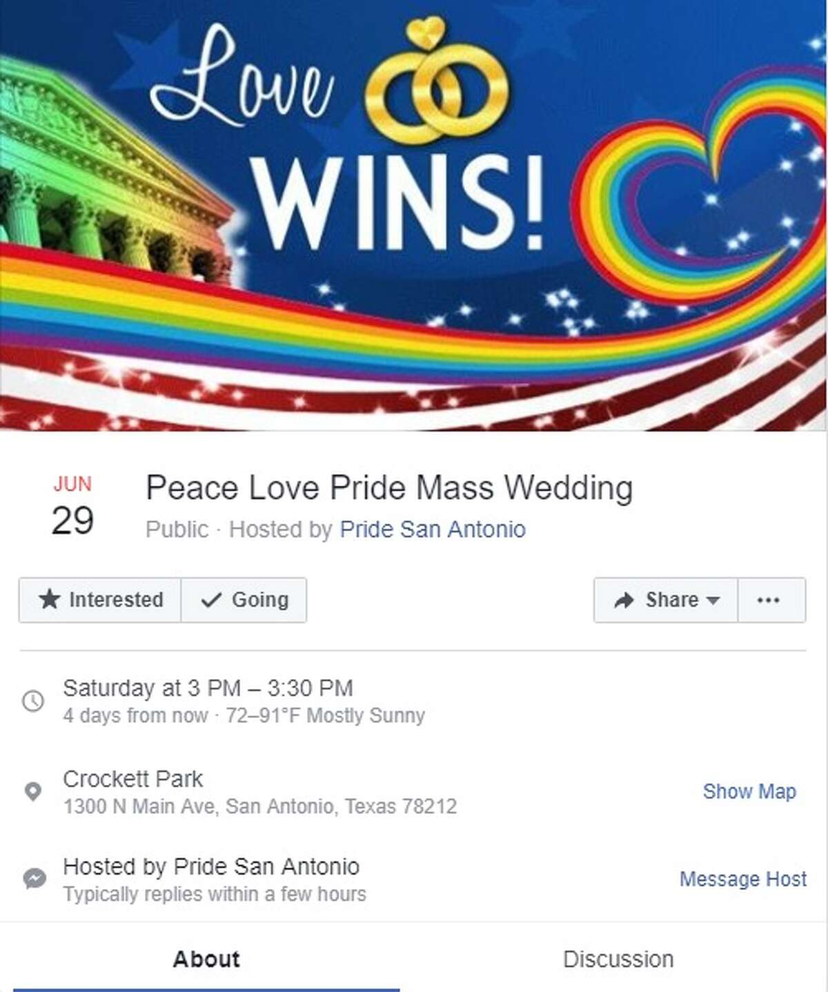 Peace Love Pride Wedding is open to all couples who wish to be married at Pride Bigger Than Texas. The event is from 3 to 3:30 p.m. Saturday at Crockett Park.