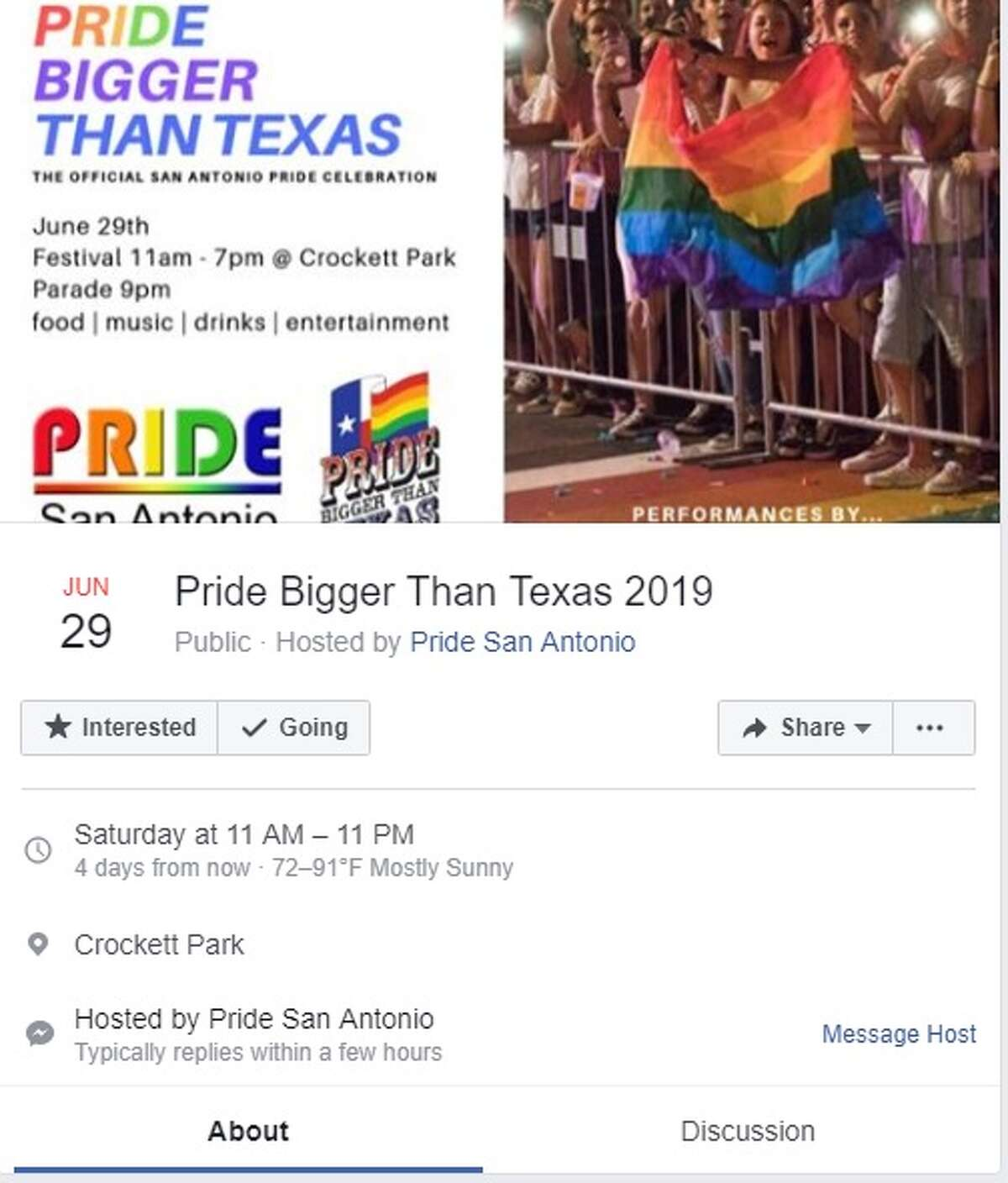 Pride Bigger Than Texas is the official San Antonio Pride Celebration. The festival runs from 11 a.m. to 11 p.m. Saturday, June 29 at Crockett Park. Parade begins at 9 p.m.