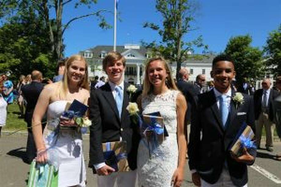 New Canaan Country School recently held its Closing Exercises. From left, Daly Baker and James Kontulis, both of New Canaan, were the recipients of awards in honor of their exemplary character, leadership and sense of community, Hannah Nightingale of Rowayton and Dillon Mims of Norwalk were student speakers at New Canaan Country School's Closing Exercises. — Contributed photo
