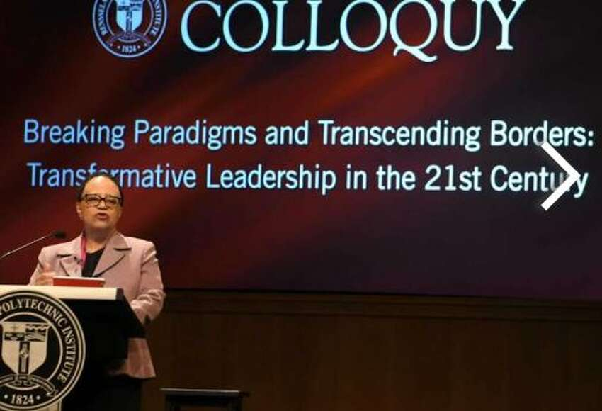Rensselaer Polytechnic Institute President Shirley Ann Jackson introduces the panel before moderating President's Commencement Colloquy at EMPAC at RPI on Friday, May 18, 2018 in Troy, N.Y.