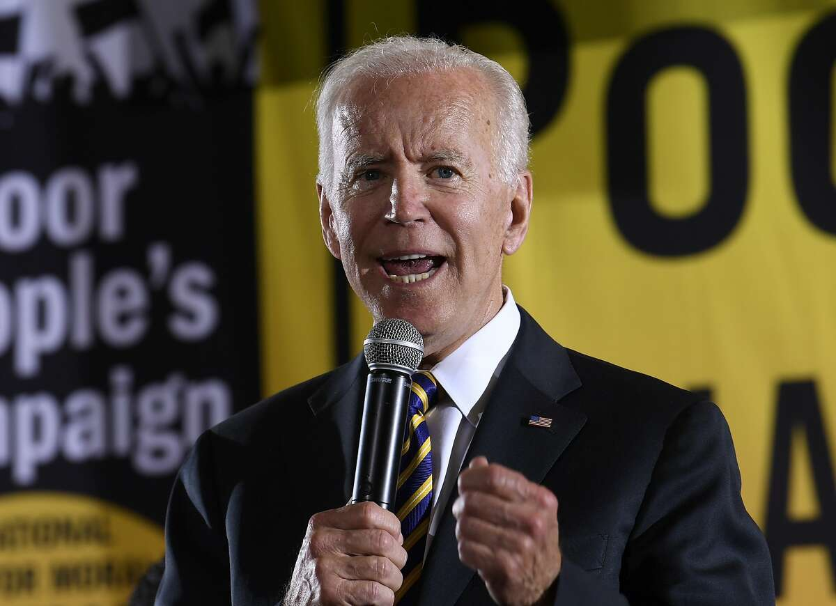 FILE - In this June 17, 2019, file photo, Democratic presidential candidate, former Vice President Joe Biden, speaks in Washington. A new poll from The Associated Press-NORC Center for Public Affairs finds majorities of Democratic voters saying gender, race and age make no difference in their enthusiasm about a candidate. Instead, Democratic voters are overwhelmingly looking for experience in elected office. Twenty-five candidates are running for the party's nomination and include several women, a Latino, multiple candidates of African and Asian descent, and a 37-year-old gay man less than half the age of the 76-year-old early front-runner, Biden. (AP Photo/Susan Walsh, File)