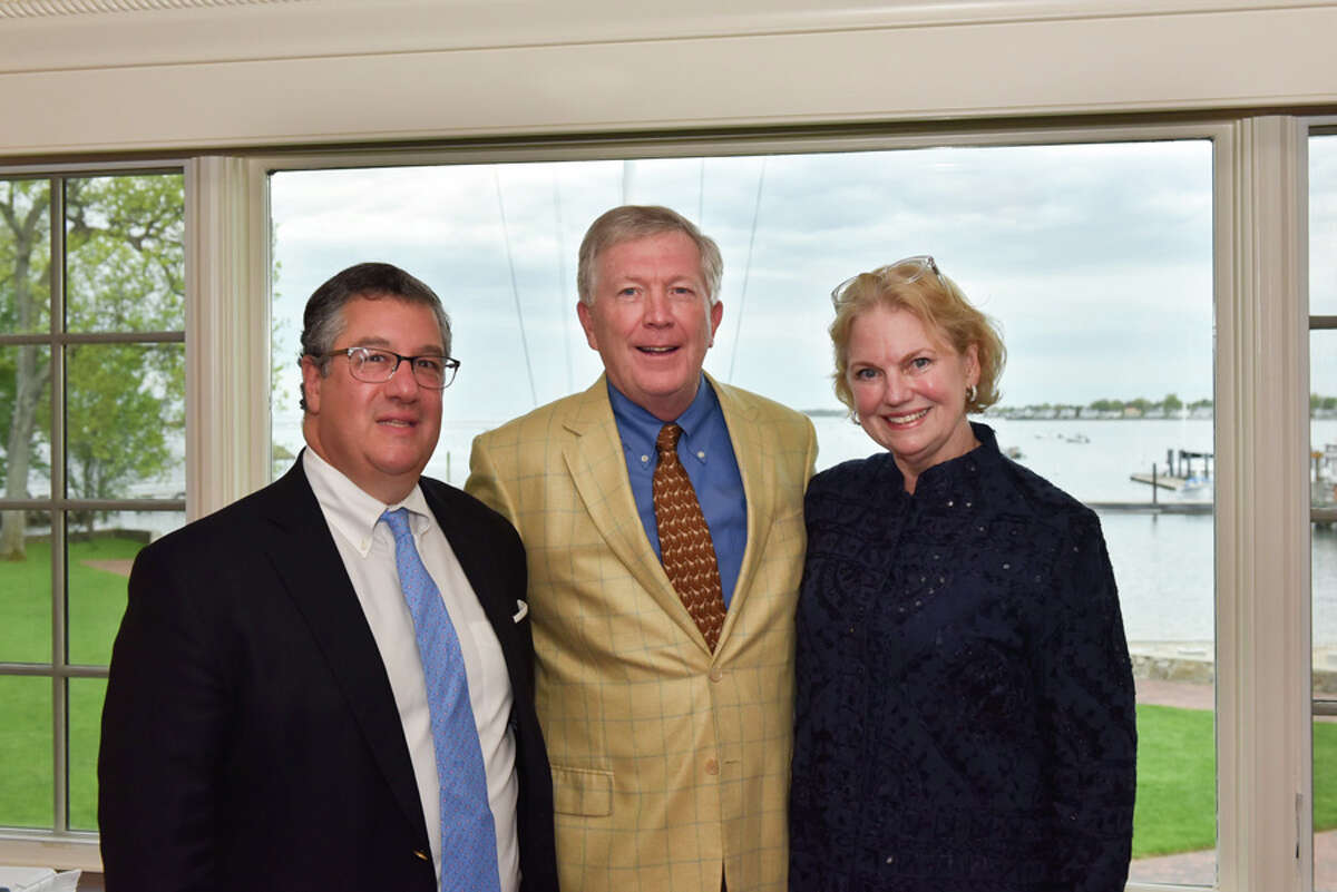 Silvermine Board member and former First Selectman Rob Mallozzi, joins current New Canaan First Selectman Kevin Moynihan, and Silvermine Board Chairman Rose-Marie Fox at the May 11 Living Art Awards. Silvermine Arts Center / Contributed photo