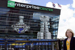 SIUE alumna Lindy Noel, marketing and communication manager for the St. Louis Blues, Enterprise Center and Stifel Theatre.