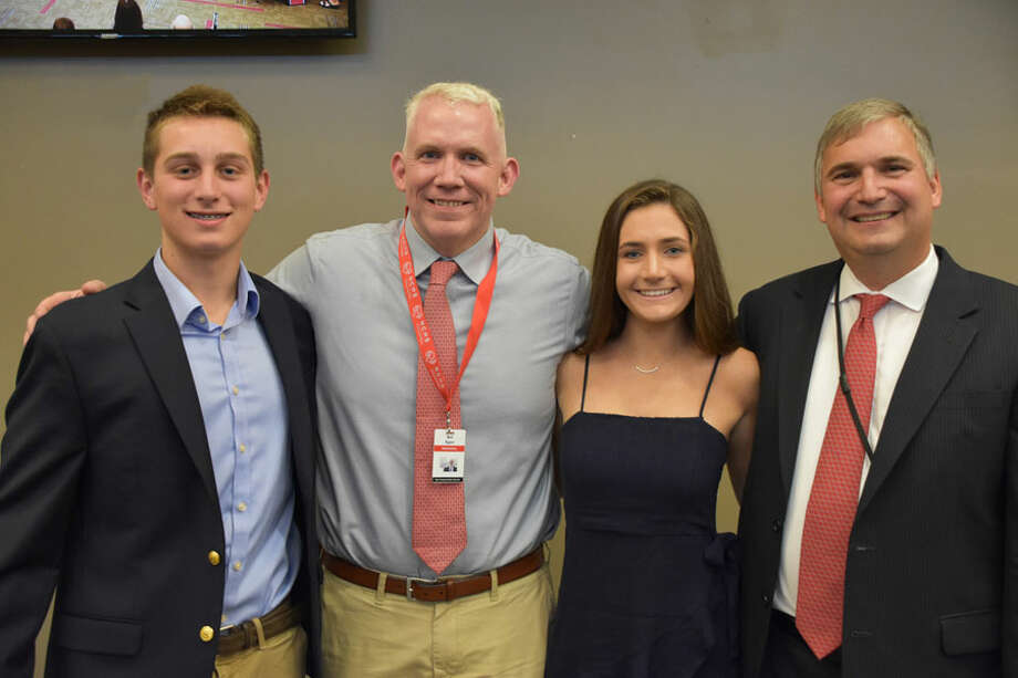 The 2019 New Canaan High School winners of the CABE Student Leadership Awards were introduced to the Board of Education Monday night, June 10. From left are winner winner Gray Farley, New Canaan High School Principal Bill Egan, winner Caroline Ciofi and Superintendent of Schools Dr. Bryan Luizzi. New Canaan High School / Contributed photo / Connecticut Post