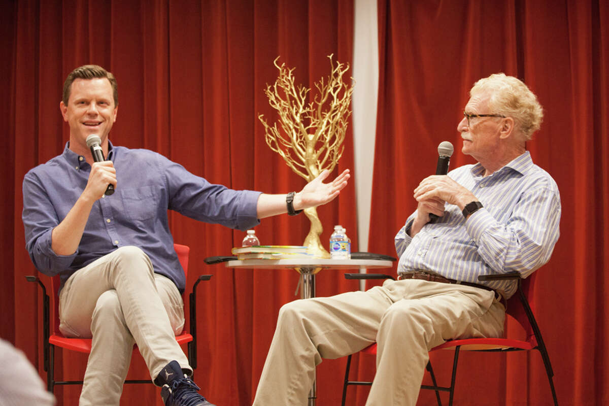 Willie Geist, co-host of MSNBC's Morning Joe, interviewed his father Bill Geist, who is a New York Times-bestselling author and former journalist for the CBS Sunday Morning at the New Canaan Library on May 19, 2019. Contributed photo