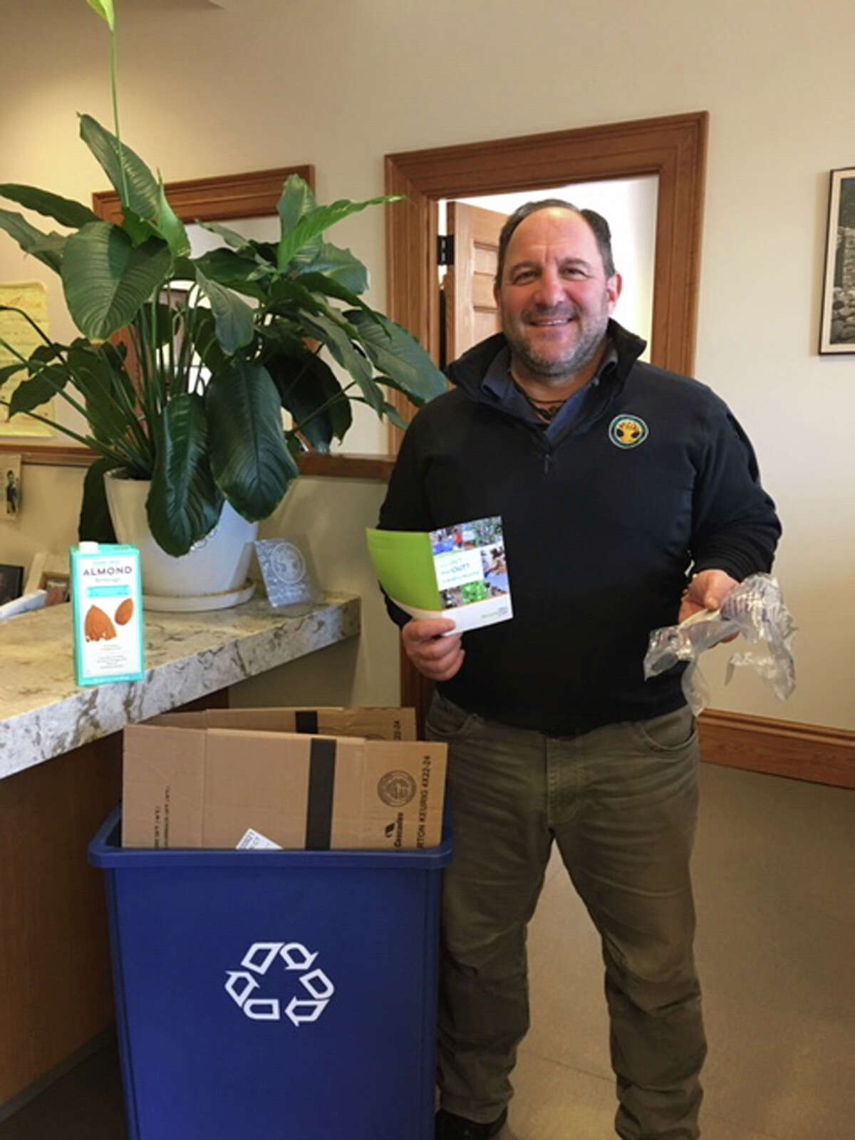 Tiger Mann, New Canaan's director of Public Works presented Recycling 101: What's In, What's Out, and Why, in April, 2019, at the New Canaan Library. Contributed photo