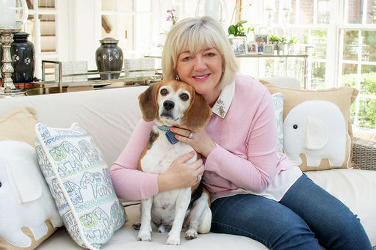 New Canaan's Cathy Kangas has five rescue dogs, including her beagle Ladybug. She's hoping more pets find homes when the Cathy Kangas Foundation covers all adoption fees Father's Day weekend in Bridgeport, at PAWS-Norwalk, at the New Fairfield/Sherman shelter and at the Stamford shelter. Contributed photo