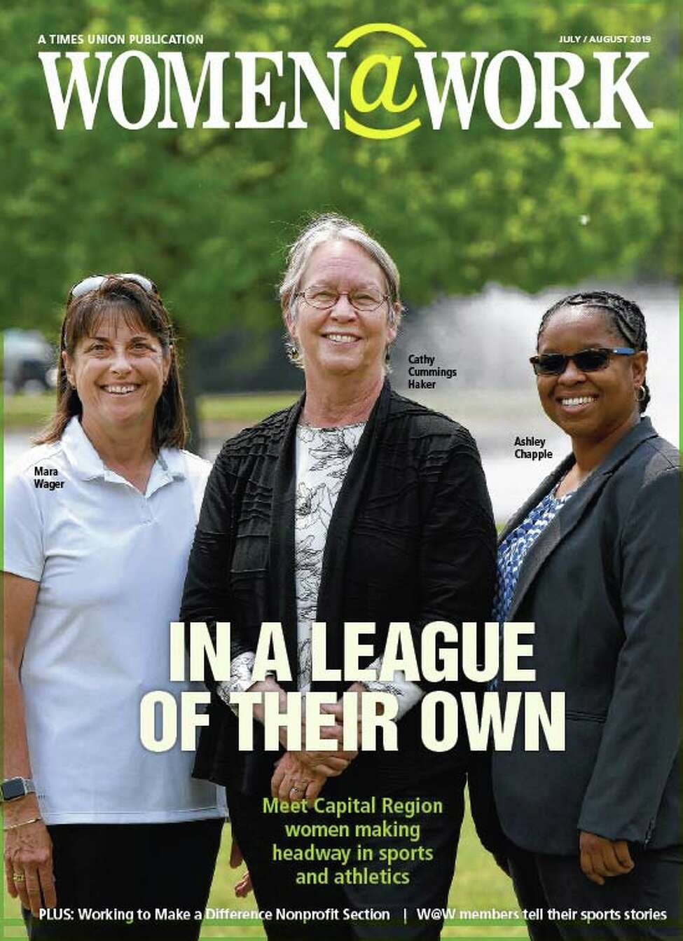 The July issue of Women@Work magazine features stories about Women in Athletics.