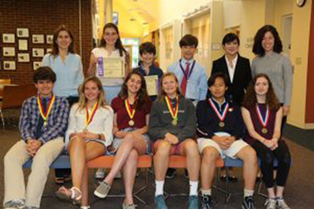 Last year's students at the New Canaan Country School students who had a strong world language showing, and who earned national recognition in the 2018 World Language exams included, front row from left, Shane Carbin of Norwalk, Hannah Nightingale of Rowayton, Georgia Rivero of New Canaan, Ellie Hanson of New Canaan, Seth Yoo of Pound Ridge, N.Y., and Alexandra Mathews of Stamford; back row from left, Sofie Petricone of Rowayton, Mac Ryan of Pound Ridge and Cody Comyns of New Canaan. Contributed photo