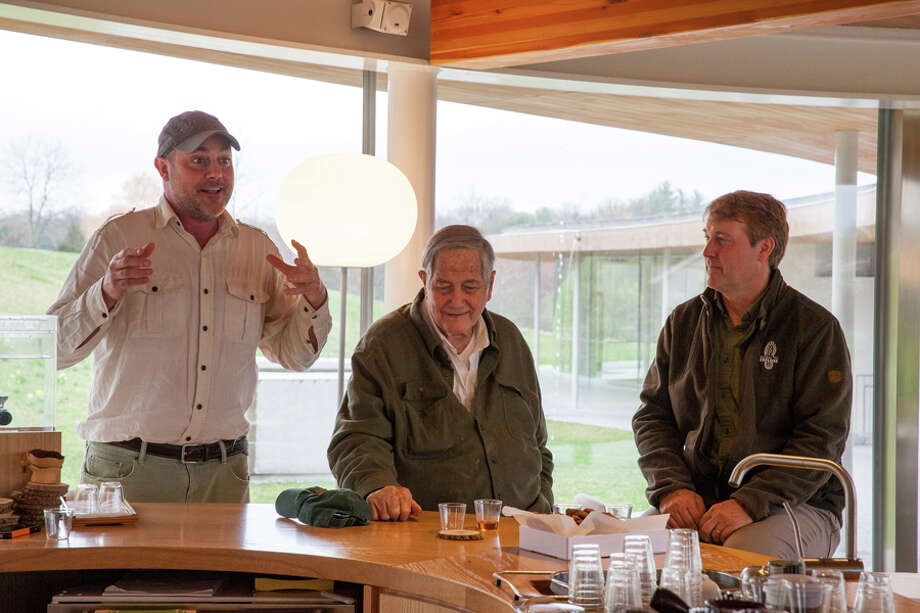 Jim Fowler, is flanked by his son Mark (left), Nature Initiative Director at Grace Farms Foundation, and Richard Weise, Emmy Award-winning producer and President of the Explorer's Club, during an Earth Day program in 2017. Grace Farms Foundation / Contributed photo / Connecticut Post