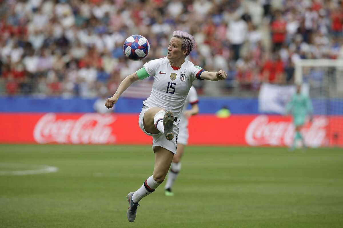 United States' Megan Rapinoe eyes the ball during the Women's World Cup round of 16 soccer match between Spain and United States at Stade Auguste-Delaune in Reims, France, Monday, June 24, 2019. (AP Photo/Alessandra Tarantino)