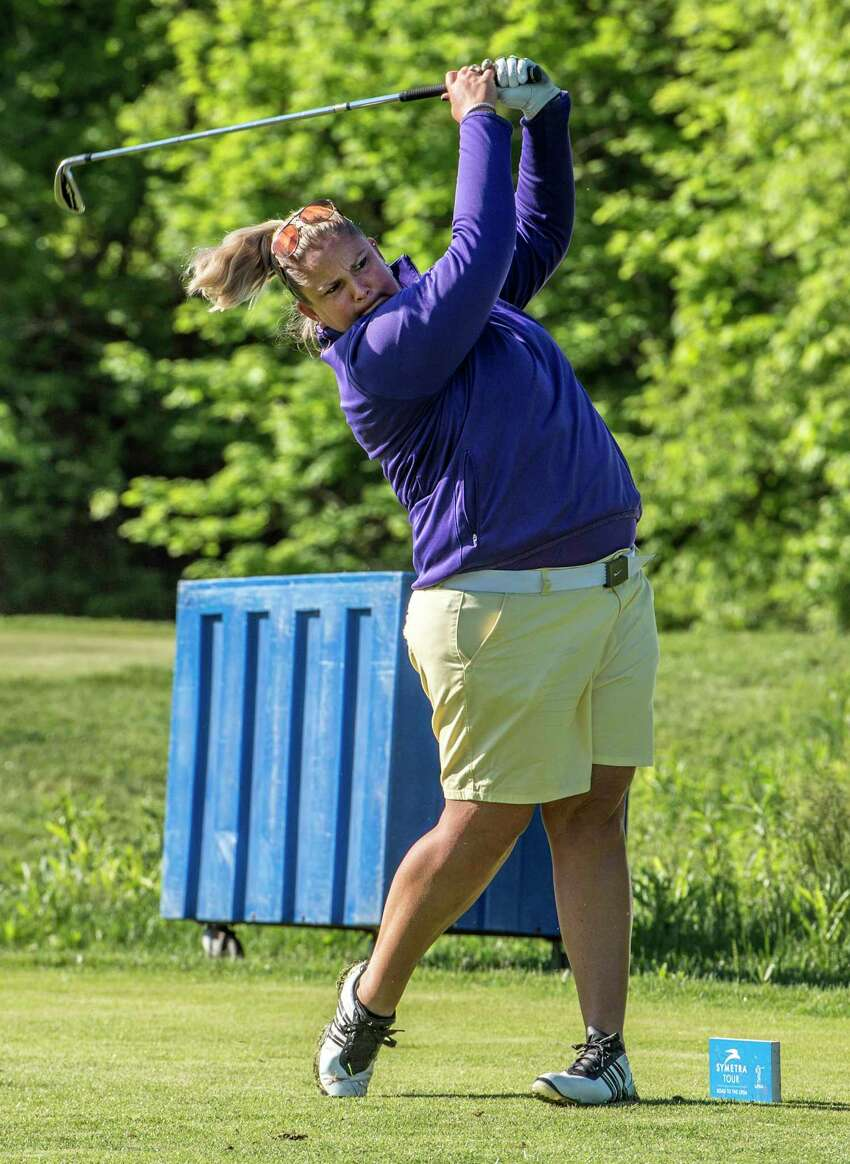 Local golfer Colleen Cashman-McSween tees off on the fourth hole in the Fuccillo Kia Classic of New York, a Symetra Tour eventA which is being held at the Capital Hills Golf Course Friday June 1, 2017 in Albany, N.Y. The event continues through the weekend. (Skip Dickstein/Times Union)