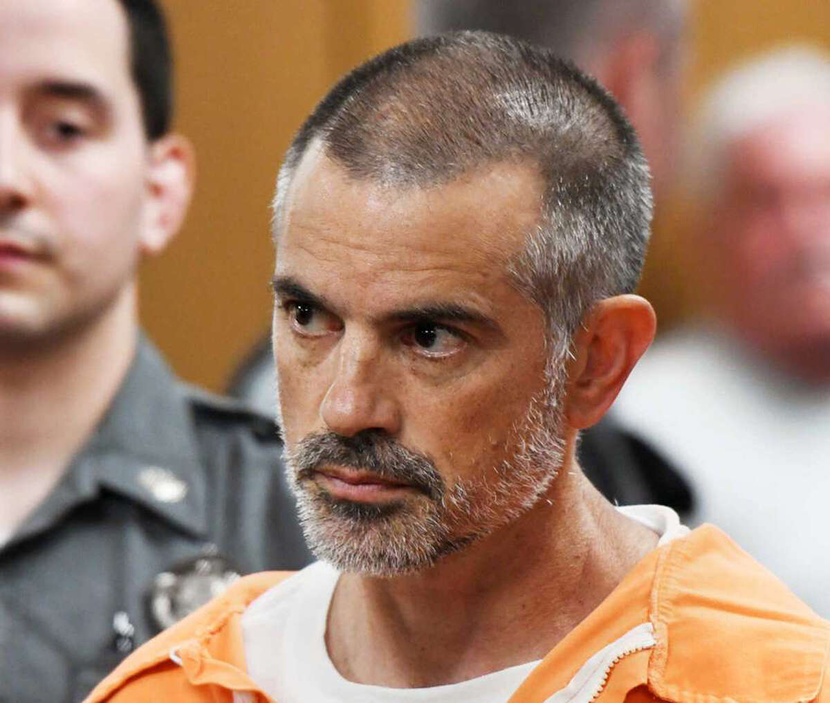 Fotis Dulos, 51, is arraigned on charges of tampering with or fabricating physical evidence and first-degree hindering prosecution at Norwalk Superior Court in Norwalk, Conn. Monday, June 3, 2019. Fotis Dulos, 51, and his girlfriend, Michelle C. Troconis, 44, were arrested at an Avon hotel late Saturday night and held on a $500,000 bond for charges of tampering with or fabricating physical evidence and first-degree hindering prosecution. Fotis Dulos is the estranged husband of Jennifer Dulos, the 50-year-old mother of five who has been missing since May 24. Photo: Tyler Sizemore, Hearst Connecticut Media