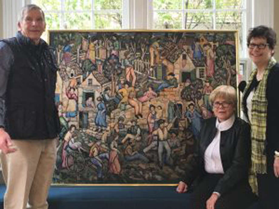 "Ed Vollmer, Betty Branch and Susan Gunn Bromley helped the New Canaan Museum add ""The Italian Quarter,"" a painting by D. Putnam Brinley, to its permanent collection. New Canaan Historical Society / Contributed photo"