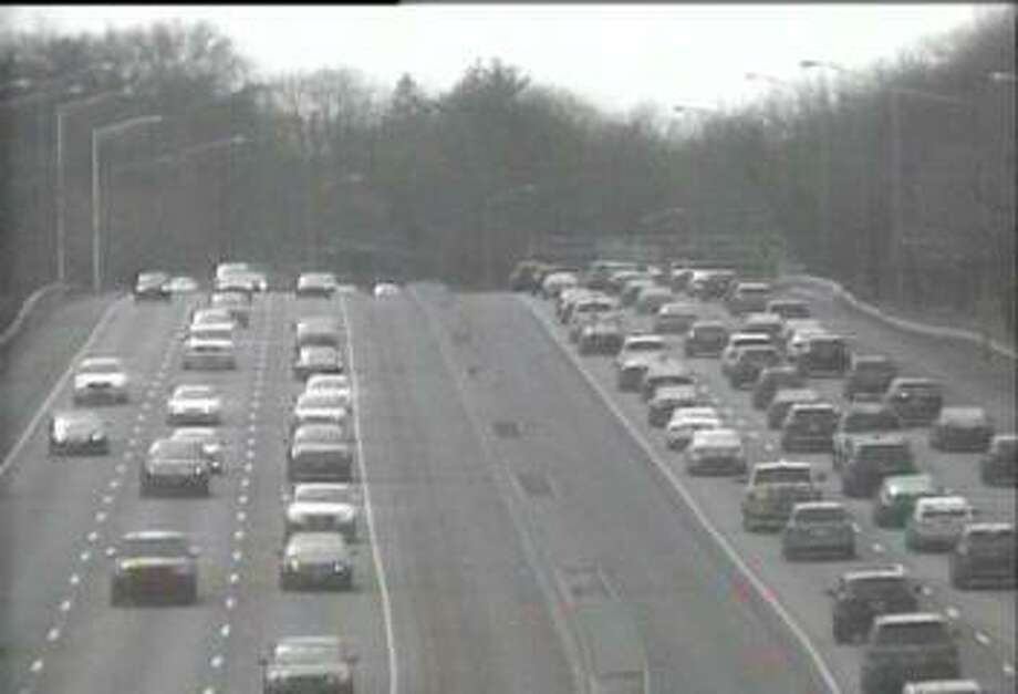 A 2018 I-95 traffic jam in Greenwich will hopefully not be a sign of things to come, but the state Department of Transportation is putting a warning out that drives may face delays over the next month as there will be night work on bridge repairs between Exits 3 and 5 in town. Photo: Contributed / Connecticut Department Of Transportation
