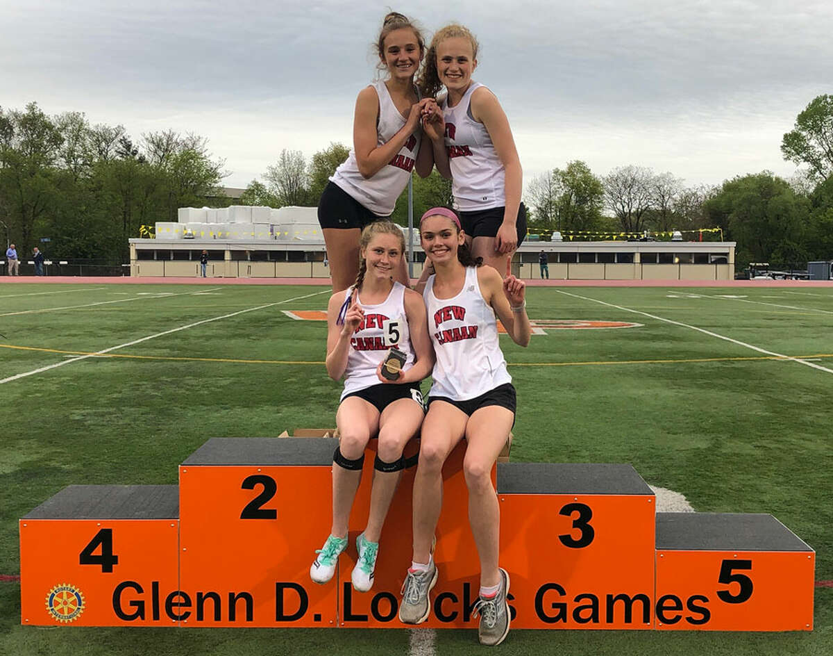 New Canaan track's distance medley relay team, which includes, from left, top row, Molly Murphy and Zoey Bennett, bottom row, Sophie Curcio and Lauren Doherty, finished first at the Glenn D. Loucks Games in White Plains, N.Y., on Thursday, May 9, 2019. - Dave Stewart/Hearst Connecticut Media