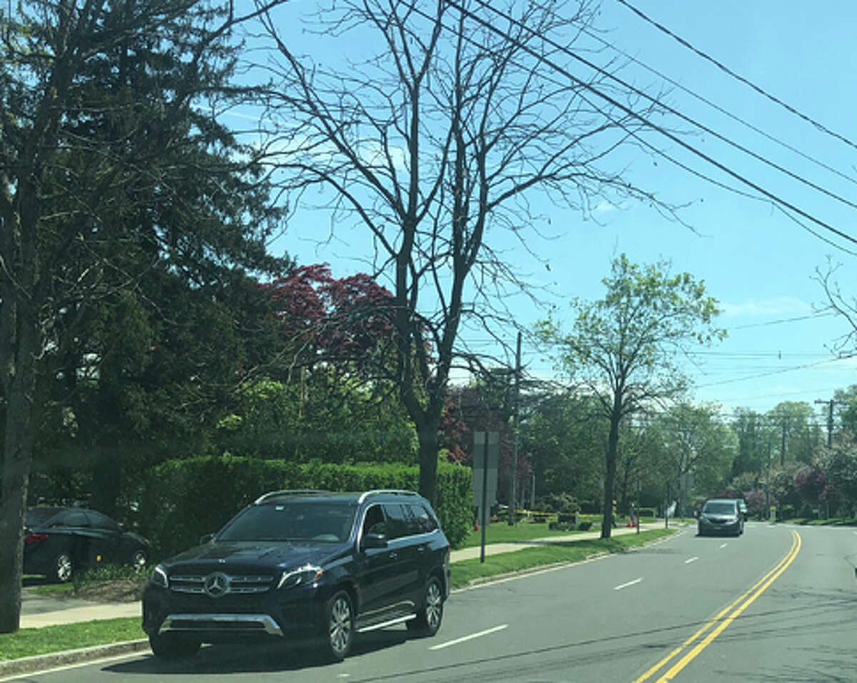 Here is the schedule for the gas expansion construction project for May 20 to May 24, 2019. Pictured is traffic on South Avenue going by work on the project on Maple Street near the New Canaan Library this month, specifically, May 7, 2019. Contributed photo