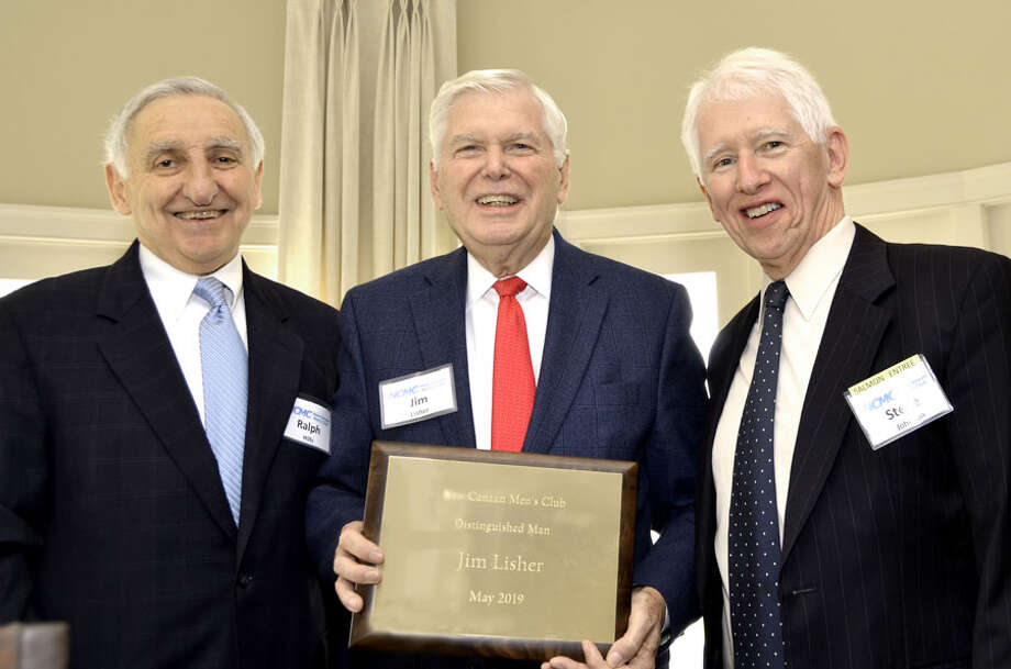 Jim Lisher, the New Canaan Men's Club's Distinguished Man for 2019, is flanked by Ralph Hills (right), who chaired the selection committee, and Men's Club President Steve Johnson. Contributed photo / Connecticut Post