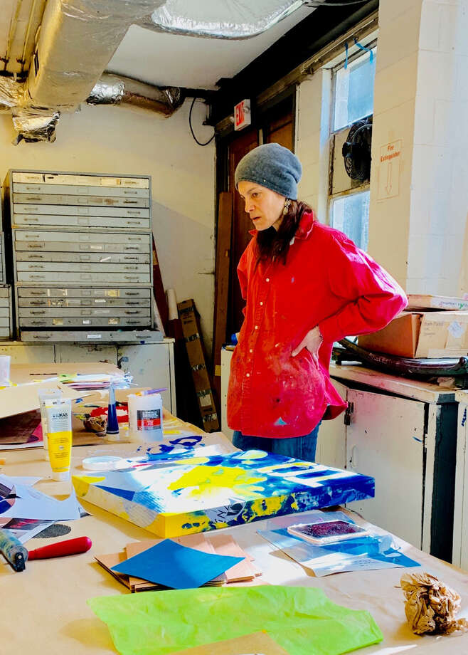 Works by artist Artist Debbie Grzelecki, inspired by her battle with Nonfluent Agrammatic Primary Progressive Aphasia, will be on display at New Canaan Berkshire Hathaway Real Estate Office at 98 Park St. from 5 to 8 p.m. Thursday, June 6, 2019. Contributed photo / Connecticut Post