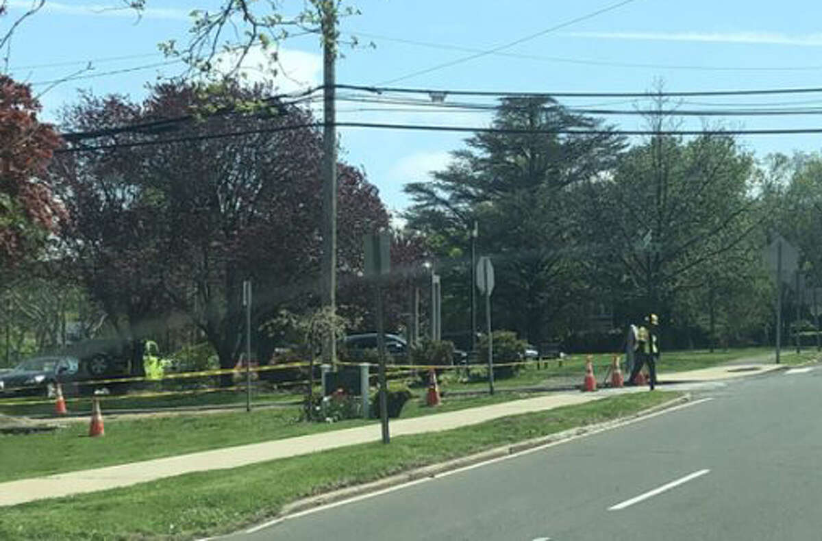 Crews from Burns Construction continue work on the gas expansion project in New Canaan this week, June 3 to June 7, 2019, to install, and improve New Canaan's natural gas distribution system, according to information from Eversource, and the Town of New Canaan. Pictured is work being done for the project on Tuesday, May, 7, 2019 on Maple Street as seen from traffic on South Avenue. Contributed photo