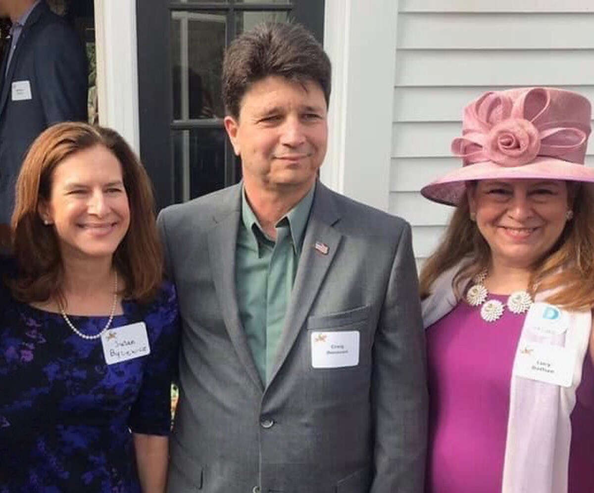 Lt. Gov. Susan Bysiewicz joins Democratic first selectman candidate Craig Donovan and State Rep. Lucy Dathan during Saturday's Derby for Democracy Party hosted by The New Canaan Democrats at a private home. Contributed photo