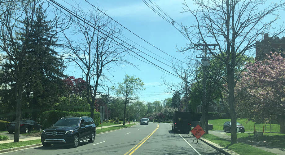 The gas expansion construction project continues in New Canaan this week. Pictured is work being done for the project on Tuesday, May, 7, 2019 on Maple Street as seen from traffic on South Avenue. Contributed photo