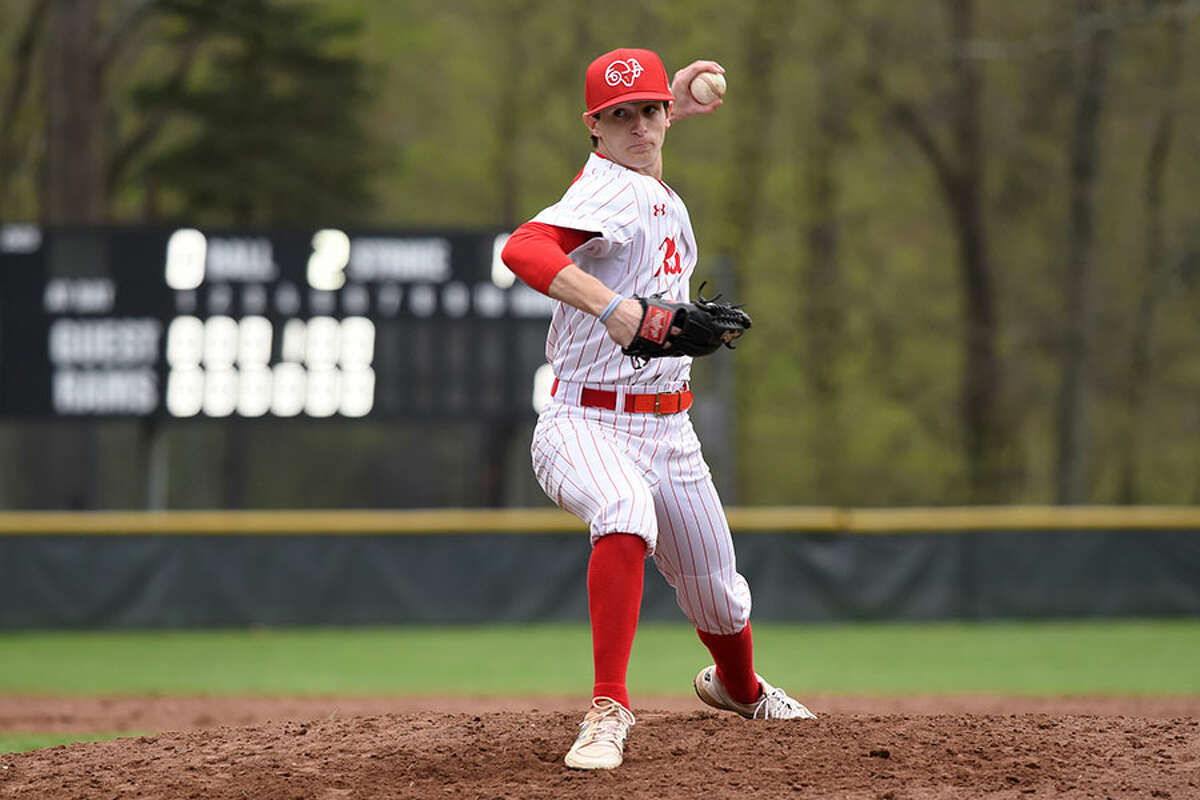 New Canaan's Frank Ramppen throws a pitch during the Rams' baseball game against Darien at Mead Park in New Canaan on Friday, May 3, 2019. - Dave Stewart/Hearst Connecticut Media