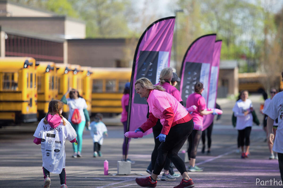 The New Canaan Color Run on Saturday, April 27, raised money for scholarships for New Canaan High School students. Parthasaradhi Jabitapuram / Contributed photo
