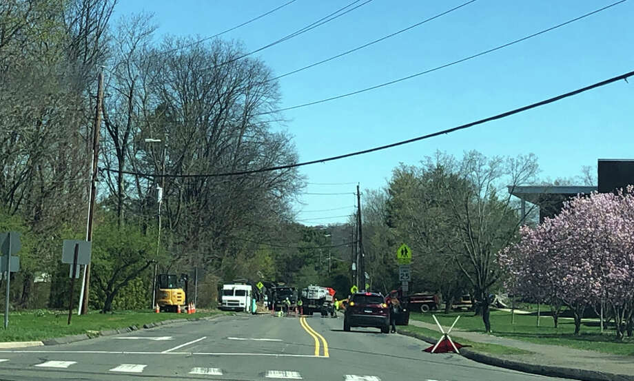 Here is the updated schedule for the Gas Expansion Construction Project for next week in New Canaan, Connecticut. Pictured is work being done on the project on Farm Road near Saxe Middle School on Tuesday, April 16, 2019. — Contributed photo