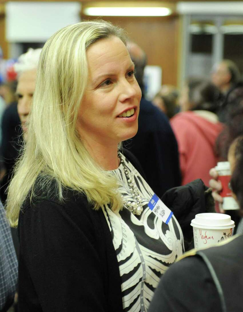 Democratic Board of Education candidate Meghan Olsson chats at the Greenwich Democrats Election Night Party at the Senior Center in Greenwich, Conn. Tuesday, Nov. 7, 2017. Democrats Meghan Olsson and Kathleen Stowe ran unopposed for the Democratic spots on the Board of Education.