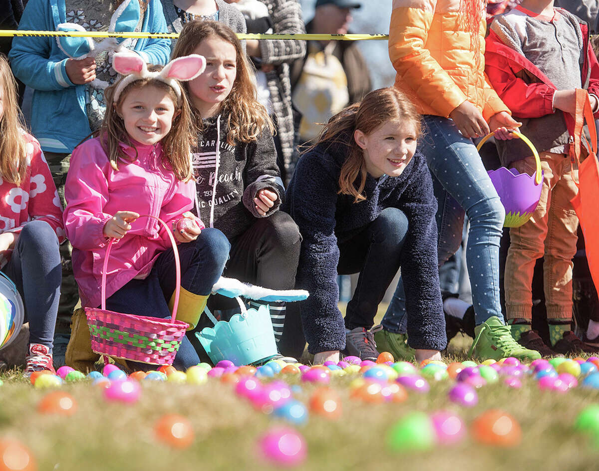 Young Women of New Canaan hosted an Easter egg hunt at Waveny Park on Sunday, April 6, 2019. Kids line up for the hunt at the Young Women's League of New Canaan egg hunt on Saturday, April 6, 2019. - Bryan Haeffele / Hearst Connecticut Media