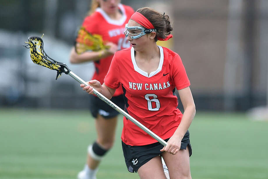 New Canaan freshman Kaleigh Harden scored four goals in the Rams' 12-2 win at Yorktown on Saturday. — Matthew Brown/Hearst Connecticut Media / Stamford Advocate