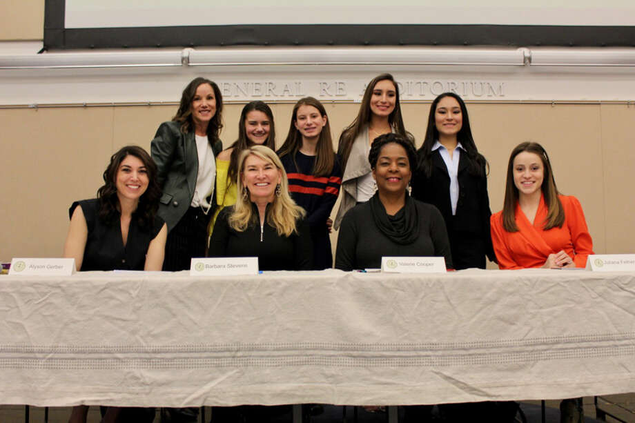 "LiveGirl winners' ideas at a recent LiveGirl event aim to make the world better. #GirlBoss contest winners and mentors at March 23 LiveGirl event (UConn Stamford), back from left, Sheri West (founder and CEO, LiveGirl), Caroline Taylor, Isabella Piazza, Stephanie Guza, Caroline Guza; front from left, Alyson Gerber (author, ""Brace"", ""Focused""), Barbara Stevens (president ,Rand Insurance), Valerie Cooper (founder, Picture That Art LLC) and Juliana Fetherman (founder, Making Authentic Friendships LLC). — LiveGirl / Contributed photo"