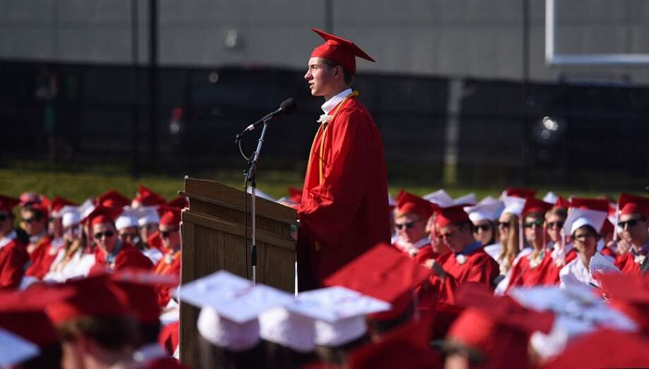 A scene from the New Canaan High School graduation ceremony for the Class of 2018 on June 21. — Dave Stewart photo