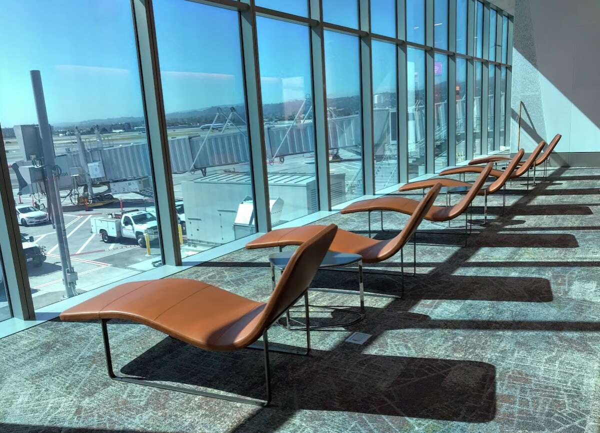 Lounge chairs with a view at SFO's new Harvey Milk Terminal 1