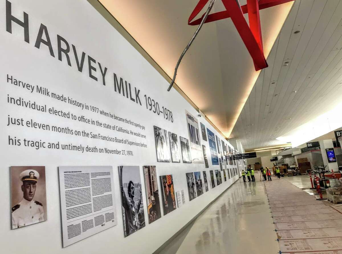 An enormous 380-foot temporary wall with a memorial to the life and times of Harvey B. Milk at the SFO's new Terminal 1. The local civil rights pioneer was assassinated in 1978 at San Francisco City Hall.