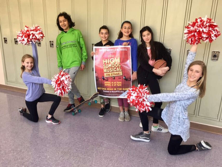 The annual Saxe Middle School seventh and eighth-grade production this year will be Disney's High School Musical. Performers in the musical are shown. Performances will be Friday, April 5 at 7 p.m. and Saturday, April 6 at 1 p.m. in the school's auditorium. — Saxe Middle School / Contributed photo