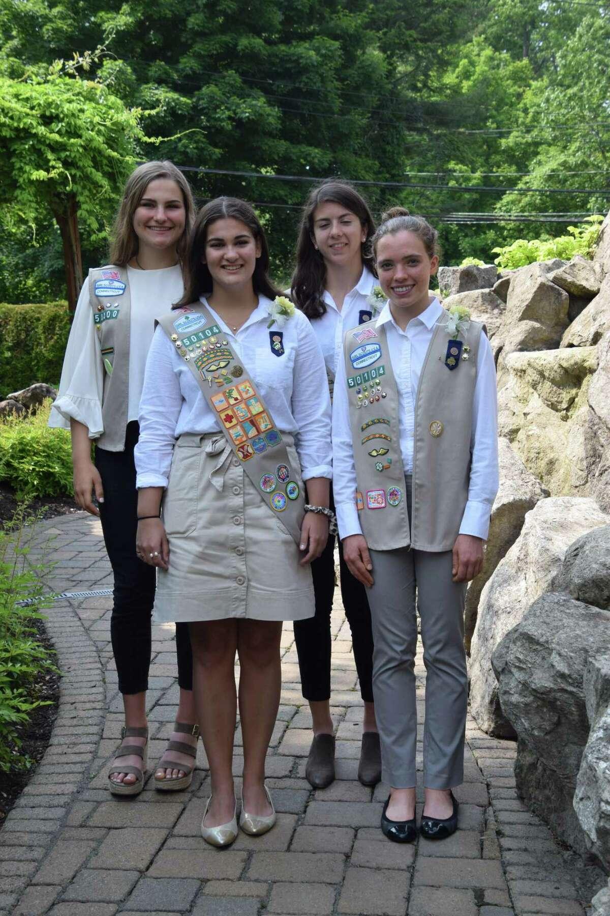 Anna Meurer, Madelyn Yu, Abigail Lucier, Caroline Webb went to Hamden for a presentation of Girl Scout Gold Awards.