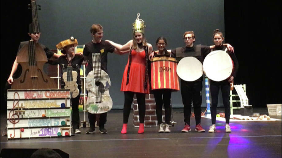 A team of 10th graders from New Canaan High School finished first in performance in Division 3 in the state Odyssey of the Mind competition. From left are Joseph McLaughlin, Julia Carpi, Nic Butler, Hannah Frank, Neya Krishnan, Carl Wolpert and Dylan Lee. — Contributed photo / Connecticut Post