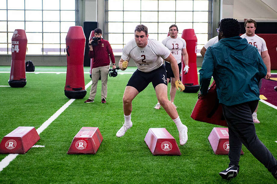 Zach Allen runs drills during Boston College's 2019 NFL Pro Day at Fish Field House at in Chestnut Hill, Mass. on Wednesday, March 20. — Billie Weiss/Boston College Athletics / Stamford Advocate Contributed