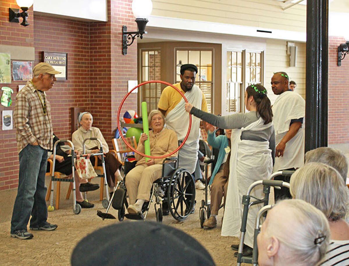 Waveny LifeCare Network's residents and program participants enjoy Gladiator Games recently at the facility in New Canaan.- Waveny LifeCare Network / Contributed photo