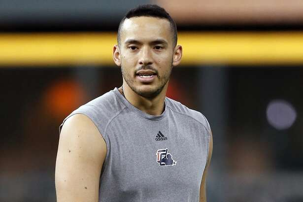 HOUSTON, TEXAS - JUNE 25: Carlos Correa of the Houston Astros works out at Minute Maid Park on June 25, 2019 in Houston, Texas. Correa has been on the injured list with a broken rib and is not expected to be back until after All-Star break.(Photo by Bob Levey/Getty Images)