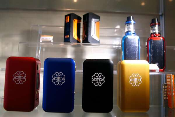 Vaping devices are displayed at the Gone With the Smoke Vapor Lounge in San Francisco, Calif. on Thursday, May 9, 2019. Chris Chin would be forced to shut down his business if proposed legislation is passed banning the sale of e-cigarettes in the city.