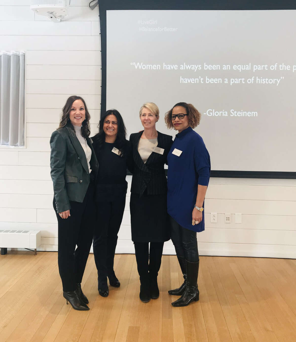 LiveGirl and the Grace Farms Foundation co-hosted a networking luncheon in celebration of International Women's Day on March 8, 2019 that included representatives from over 25 companies that support girls and women statewide. Sheri West (LiveGirl Founder & CEO), Krishna Patel (Grace Farms Foundation Justice Initiative Director), Lisa Lynne Kirkpatrick (Grace Farms Foundation Community Initiative Director) and Dr. Vida Samuel (UConn Stamford Professor Women's Studies & LiveGirl Board of Directors). LiveGirl / Contributed photo