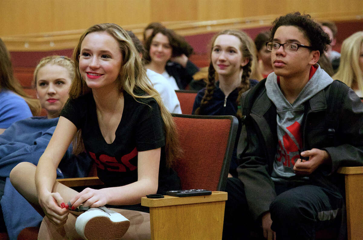 Mia Wells, 14, and Ivan Tamayo, 16, members of the cast of this weekend's production of